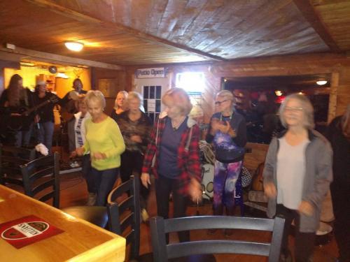 Line dancing at Open Mic Night